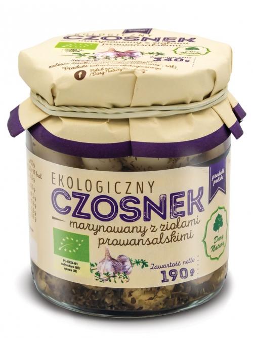 Czosnek marynowany z ziołami prowansalskimi EKO 190g | Dary Natury