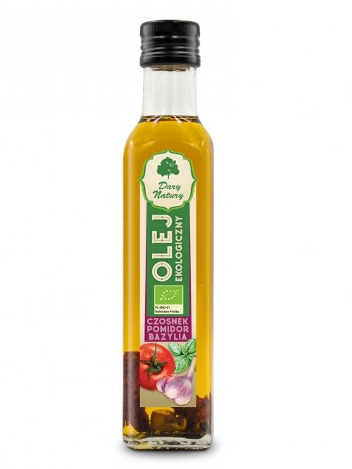 Olej Czosnek Pomidor Bazylia EKO 0,25l | Dary Natury